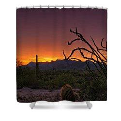 Red Hot Sunset  Shower Curtain by Saija  Lehtonen