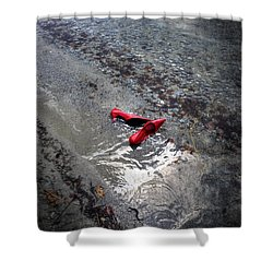 Red Is Swimming Shower Curtain by Joana Kruse