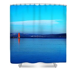 Red Lighthouse In Cayuga Lake New York Shower Curtain by Paul Ge