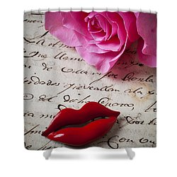 Red Lips On Letter Shower Curtain by Garry Gay