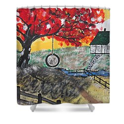 Shower Curtain featuring the painting Red Maple  Swing by Jeffrey Koss