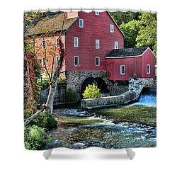 Red Mill On The Water Shower Curtain by Paul Ward