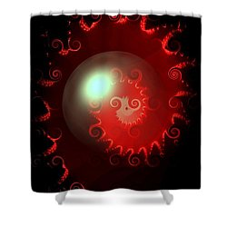 Red Nautilus Shower Curtain by Maria Urso