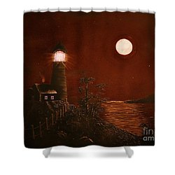 Red Night Shower Curtain by Barbara Griffin