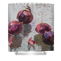 Red Onions Shower Curtain by Ylli Haruni