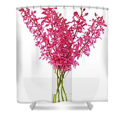 Red Orchid In Vase Shower Curtain by Atiketta Sangasaeng