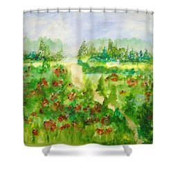 Red Poppies Shower Curtain by Kelly Turner