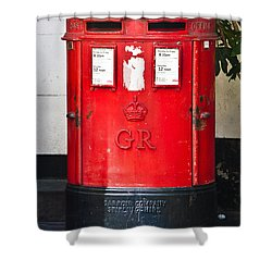 Red Post Box Shower Curtain by Dawn OConnor