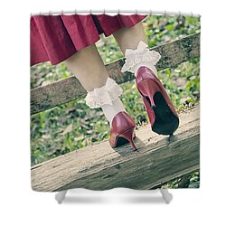 Red Pumps Shower Curtain by Joana Kruse