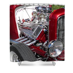 Red Roadster Hot Rod Fine Art Photo Shower Curtain by Sven Migot