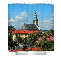 Red Roofed Wonders Shower Curtain by Mariola Bitner