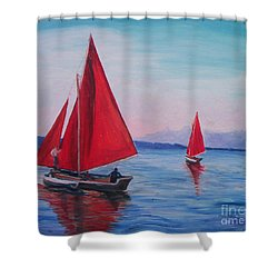 Shower Curtain featuring the painting Red Sails On Irish Coast by Julie Brugh Riffey