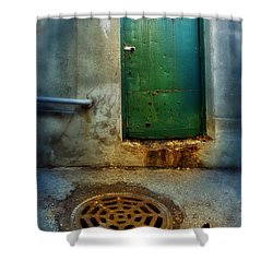 Red Shoes By Green Door Shower Curtain by Jill Battaglia