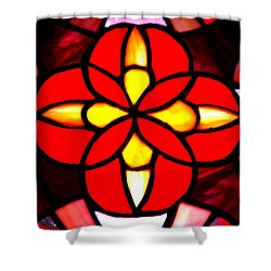 Red Stained Glass Shower Curtain by LeeAnn McLaneGoetz McLaneGoetzStudioLLCcom