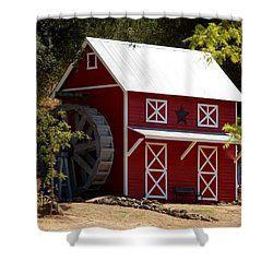 Red Star Barn Shower Curtain
