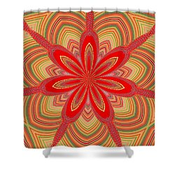 Red Star Brocade Shower Curtain by Alec Drake