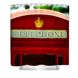 Red Telephone Box Shower Curtain by Chris Thaxter