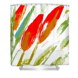 Red Tulips Shower Curtain by Barbara Moignard