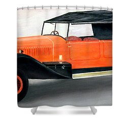 Red Vintage Car Shower Curtain by Ronald Haber