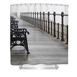 Redcar, North Yorkshire, England Row Of Shower Curtain by John Short