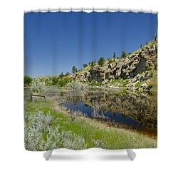 Reflecting Cliffs Shower Curtain by Roderick Bley