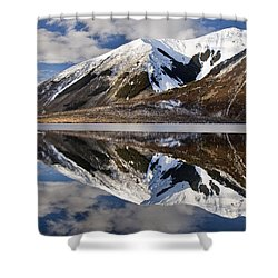 Reflection In Lake Pearson, Castle Hill Shower Curtain by Colin Monteath