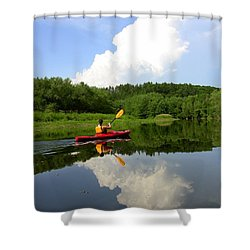 Reflection Of A Kayaker On The Merrimack Shower Curtain by Rick Frost