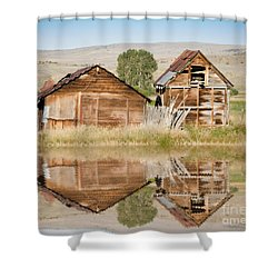 Reflection Of An Old Building Shower Curtain