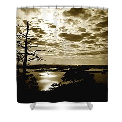 Reflection Of Moonlight On Squam Shower Curtain by Rick Frost