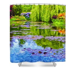 Reflections At Giverny Shower Curtain by Dominic Piperata