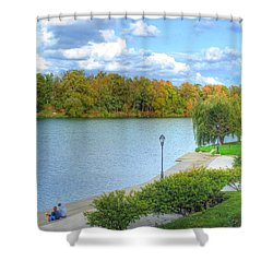 Shower Curtain featuring the photograph Relaxing At Hoyt Lake by Michael Frank Jr