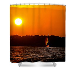 Relaxing Day On Dewey Bay Shower Curtain by Trish Tritz