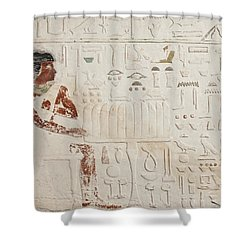 Relief Of Ka-aper With Offerings - Old Kingdom Shower Curtain by Egyptian fourth Dynasty