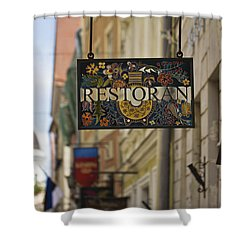 Shower Curtain featuring the photograph Restaurant by Clare Bambers