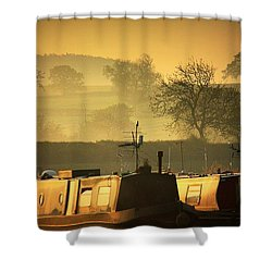 Resting Narrowboats Shower Curtain
