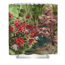Shower Curtain featuring the painting Rhododendron And Red Maple by Donald Maier