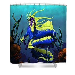 Shower Curtain featuring the digital art Ribbon Hippocampus by Stanley Morrison
