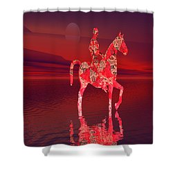 Riding At Dusk Shower Curtain by Matthew Lacey