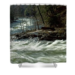 Riding The River Shower Curtain by Karol Livote