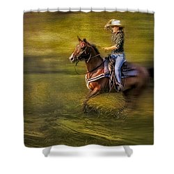 Riding Thru The Meadow Shower Curtain by Susan Candelario