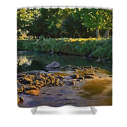 Riffles - First Light Shower Curtain by Bruce Morrison