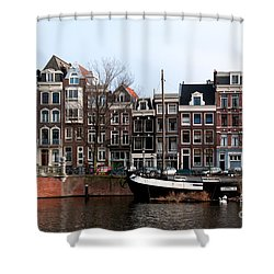 Shower Curtain featuring the digital art River Scenes From Amsterdam by Carol Ailles