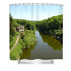 River Severn From The Iron Bridge Shower Curtain by Rod Johnson