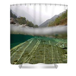 River Surface Shower Curtain by Mats Silvan