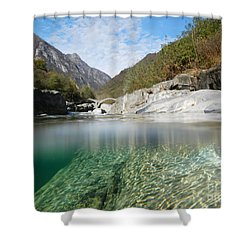 River With A Roman Bridge Shower Curtain by Mats Silvan