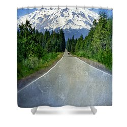 Road Leading To Snow Covered Mount Shasta Shower Curtain by Jill Battaglia