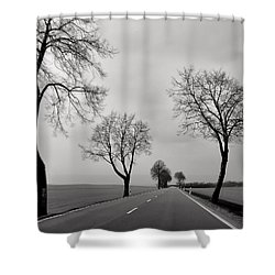 Road Through Windy Fields Shower Curtain