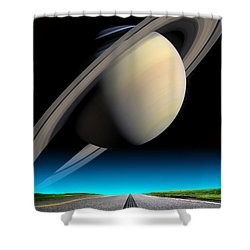 Road To Saturn Shower Curtain by Larry Landolfi and Photo Researchers