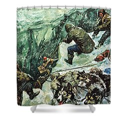 Roald Amundsen's Journey To The South Pole Shower Curtain by Luis Arcas Brauner