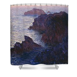 Rocks At Bell Ile Port Domois Shower Curtain by Claude Monet
